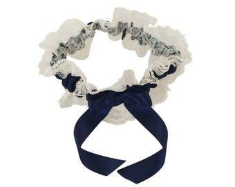 Navy Blue and Ivory Lace Wedding Garter, Bridal Garter, Prom Garter, Garter Belt, Lace Garter, Plus Size Garter