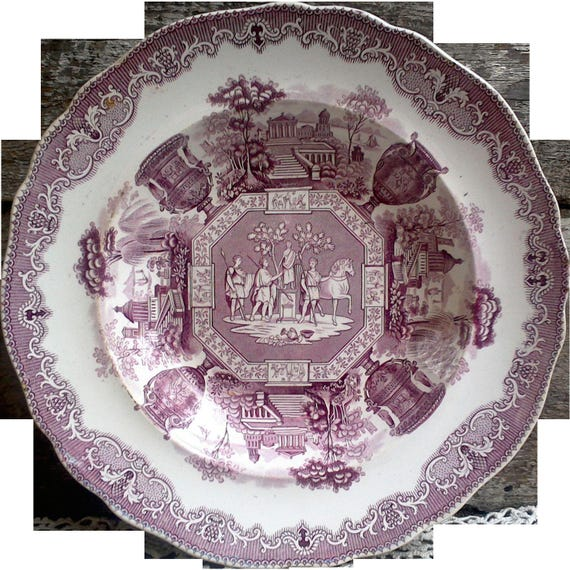 """Antique Spode China Purple/Mulberry Transferware Large Bowl """"Antiques"""""""