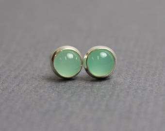Chrysoprase Stud Earrings, Tiny Chrysoprase Earrings, 4mm Chrysoprase Earrings, Chrysoprase Sterling Silver Earrings, Green Studs