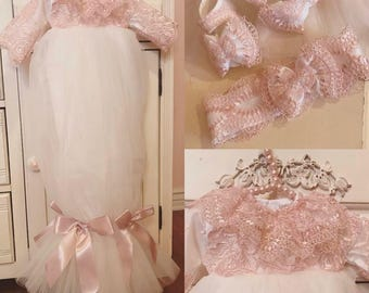 New born gown | baby dress | baby tull dress | baptism dress | pink dress