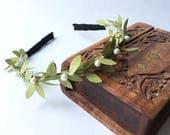 Green leaf headband | pearl greenery leaf crown | hippie vine headband | boho woodland wedding | leaves hair headpiece