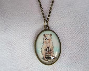 Tiny original Quokka necklace Hand painted original art