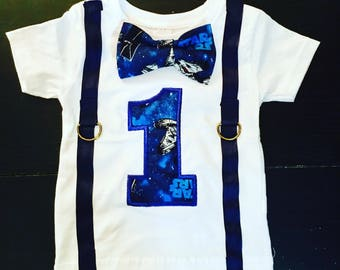 Star Wars birthday shirt with custom number applique,faux suspenders and bow tie, Star wars toddler birthday shirt, baby boy shirt