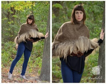 like a stranger - light and warm comfy cape from organic sheep wool and locks- fall 2016 - OOAK, boho/ethno - ready to ship!
