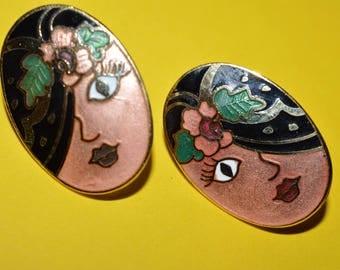 Vintage Cloisonne Flapper Face Flapper Girl Hat Enamel Earrings 1980s