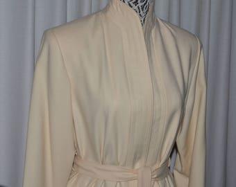 Vintage Light Ivory Coat Pure Virgin Wool 1970s