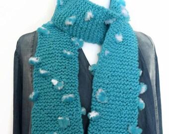 Blue girls scarf, knitting scarf, garter stitch scarf, tufted handmade scarf, knitted scarf, chunky knit scarf, scarf UK, blue child scarf