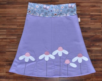 Nature clothing, nature clothes, cute clothes for woman, lilac woman skirt, daisy skirt, S, M, L, Xl, XXL or custom skirt, comfort clothing