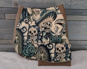 Sugar Skull Blue Tattoo Charla Bag with Wallet