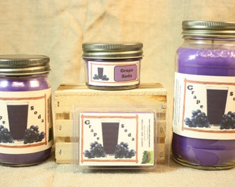 Grape Soda Scented Candle, Grape Soda Scented Wax Tarts, 26 oz, 12 oz, 4 oz Jar Candles or 3.5 Clam Shell Wax Melts