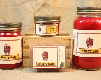 Cherry Cola Scented Candle, Cherry Cola Scented Wax Tarts, 26 oz, 12 oz, 4 oz Jar Candles or 3.5 Clam Shell Wax Melts