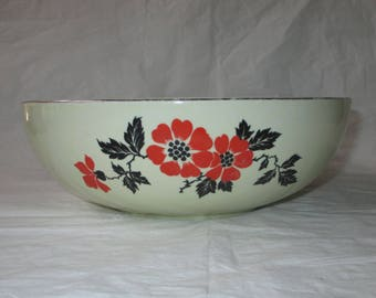 "Hall RED POPPY 9"" Coupe Salad Serving Bowl, Platinum Trim (c. 1940s)"