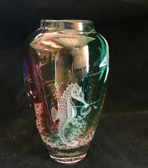 Hand Engraved Glass Vase, JellyFish, Art Glass, engraved, weddings, gifts, Mothers day, Home Decor, Jellyfish, functional art