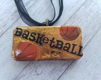 Basketball necklace, domino necklace, basketball, necklace, sports jewelry