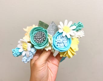 Cooling Daisy Half Crown/Bling Me Collection/Handmade Headband/Silverglitter Blueshade