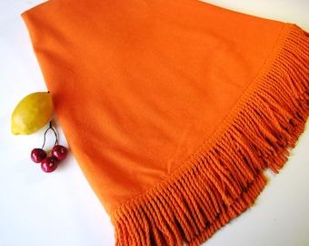 "Vintage Orange Fringe Tablecloth -  Round 62"" - Patio Tablecloth - Summertime - Mid Century 1960's"