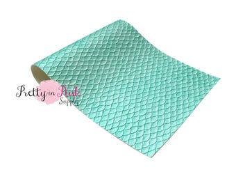 Light Aqua Large Texture Scale - Soft Faux Leather Fabric Sheet- Fabric Sheet-A4 or A5 Leather Fabric Material-DIY Hair Bows 1mm Thick