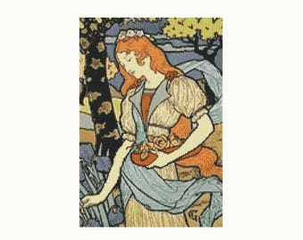 Cross Stitch Kit Woman Gathering Flowers by Eugene Grasset, Woman Cross Stitch, Embroidery Kit, Needlework DIY Kit (GRASS01)