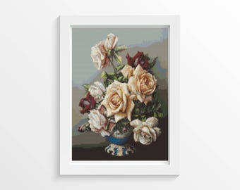 Rose Cross Stitch Kit, Vase of Roses Cross Stitch, Embroidery Kit, Art Cross Stitch, Floral Cross Stitch, Irene Klestova (KLEST01)