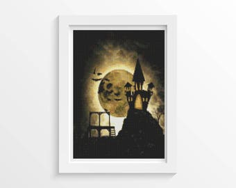 Cross Stitch Kit, Halloween Night Cross Stitch, Holiday Cross Stitch, Embroidery Kit, Art Cross Stitch (ART033)