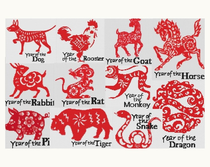 Cross Stitch Pattern PDF Set Chinese Zodiac Cross Stitch, Chinese Horoscope, Art Cross Stitch
