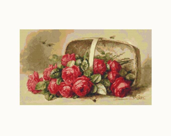 Cross Stitch Pattern PDF, Embroidery Chart, Art Cross Stitch, Floral Cross Stitch, Basket of Roses by Paul de Longpre (LONG05)
