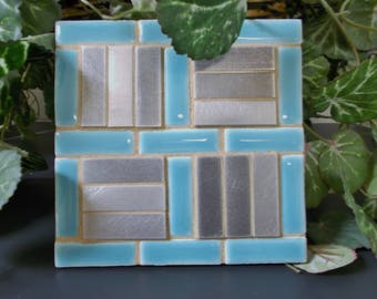"Blue Porcelain Stainless Steel Mosaic Tile Trivet 6"" x 6"""