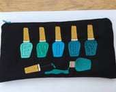 Personalised nail varnish pencil case in fabric