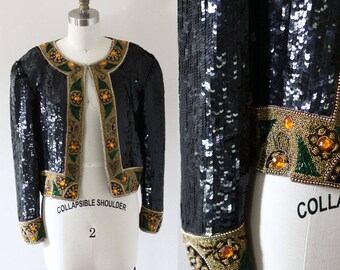 1980s black sequin blazer // vintage sequin blazer // vintage sequin jacket