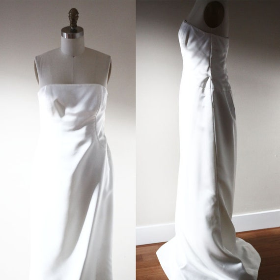 1990s strapless wedding dress  // 1990s wedding dress // vintage bridal dress