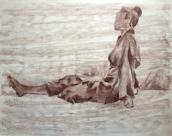 Pastel Drawing of A Woman in a Robe, One of A Kind