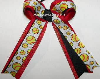 Softball Hair Bow, Red Black Ribbon, Georgia Red and Black Softball Bow, Panthers Team Uniform Spirit Hairbow, Softball Cheer Wholesale Bows