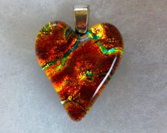 LAVAFLOW DICHROIC HEART Fused Glass Heart Pendant Dichroic Glass
