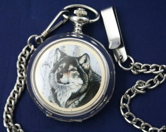 Wolf Quartz Pocket Watch • Artist, Al Agnew • Free Shipping!   • Sleek Silver Case • Ready for Use