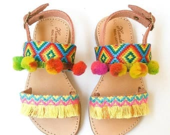 Sandales pour enfants | Sandales Boho | Sandales en cuir | Sandales filles | Sandales ethniques pour bébé '' Belize''