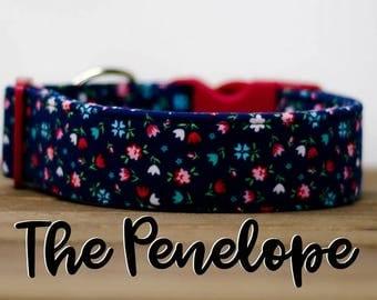 "Modern Navy & Red Vintage Floral Inspired Dog Collar ""The Penelope"""