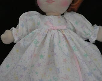 My Child Doll clothes nightgown & fur slippers,doll clothes,doll,hand made,doll clothing,dots,pink,nitie,slippers,for my child doll
