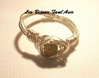 Ring wire wrapped in silver plated wire and Jasper gemstone beads