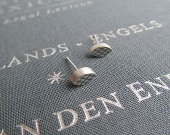 Tiny Textured Silver Leaf Studs