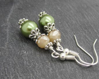 Olive and Blush Bridesmaid Earrings, Olive Green Pearl Bridal Sets, Green Pearl Drops, Small Dangle Earrings, Bridal Party Gifts, Fern Green