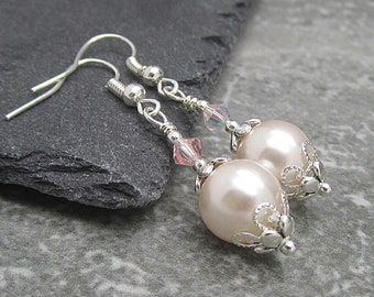 Pale Pink Wedding Earrings Blush Bridesmaid Jewellery Simple Wedding Sets Matching Bridal Jewellery Pink and Silver Bridal Party Gifts