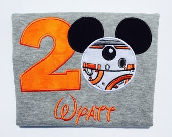 BB8 MOUSE-Personalized Embroidered Birthday Bodysuit or T-shirt