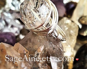 SageAine:  Quartz Crystal Sacred Geometry Sphere Silver Ring, Protective Shield, Reiki Charged, Crystal Healing, All Chakras