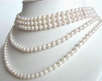Akoya Pearl Necklace - 5 Strand Pearls - White Cultured Pearls - Bridal Wedding Pearls - Vintage Bride - Graduated Pearl Choker - Gatbsy