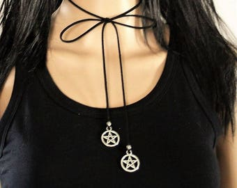 Pentagram choker necklace Black leather wrap choker necklace, Pentacle necklace Pagan necklace, Witch necklace, Pagan jewelry