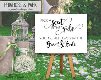 Pick a Seat Not a Side Sign • Ceremony Seating Sign • Wedding Ceremony Sign • Choose a Seat Not a Side Sign • Instant Download
