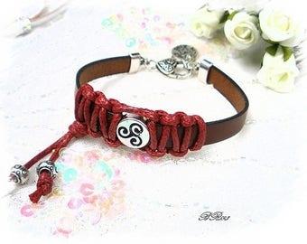 Bracelet leather braided cotton BR593