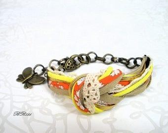 liberty knot Cuff Bracelet orange yellow lace BR835
