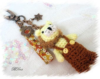 Bag charm crochet unique jumpsuit lion * BS146