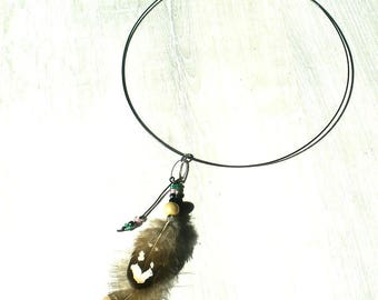 country/ethnic necklace feathers and beads